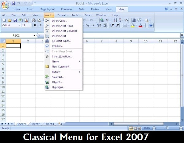 Software: Classical Menu for Excel 2007