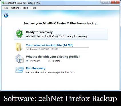 Software: zebNet Firefox Backup